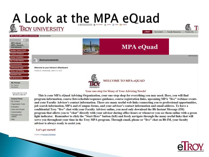 A Look at the MPA eQuad