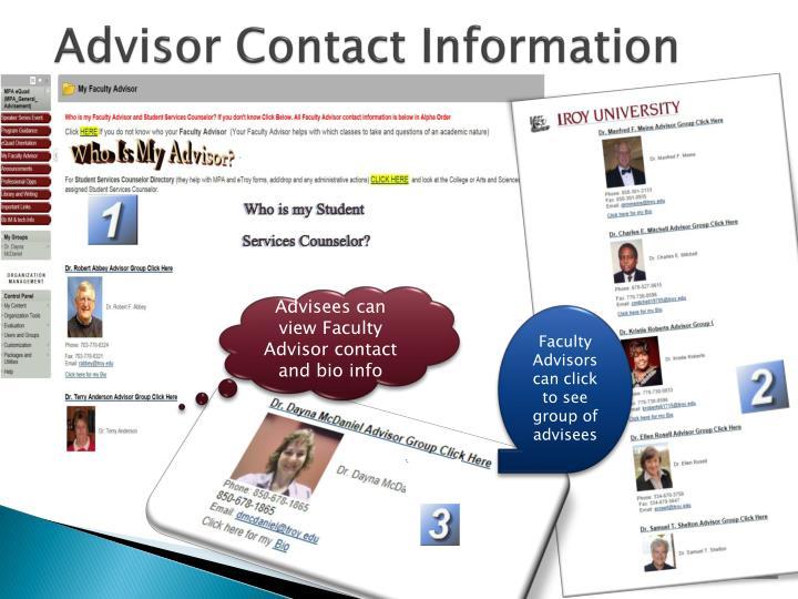 Advisor Contact Information