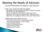 meeting the needs of advisees