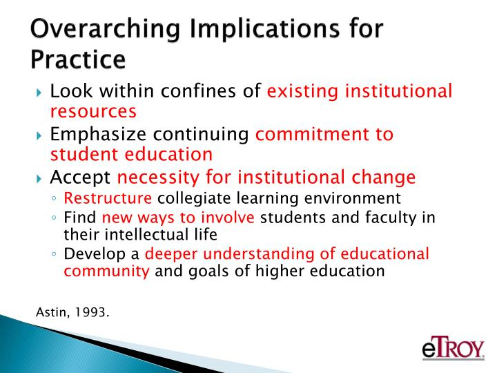 Overarching Implications for Practice