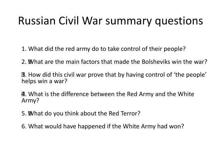 Russian Civil War summary questions