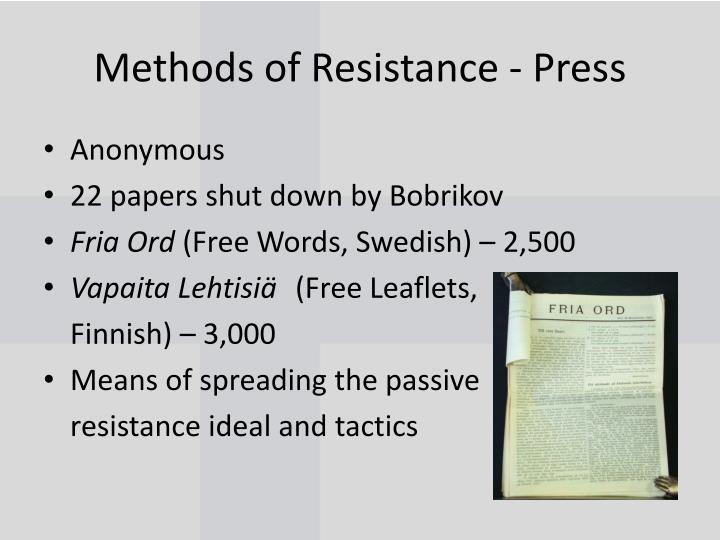 Methods of Resistance - Press