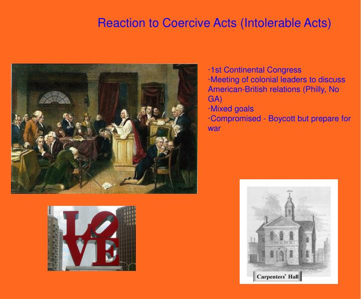 Reaction to Coercive Acts (Intolerable Acts)