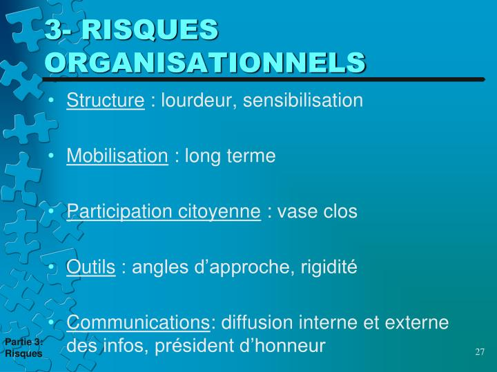 3- RISQUES ORGANISATIONNELS