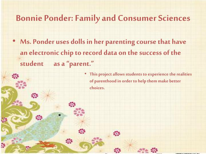 Bonnie Ponder: Family and Consumer Sciences