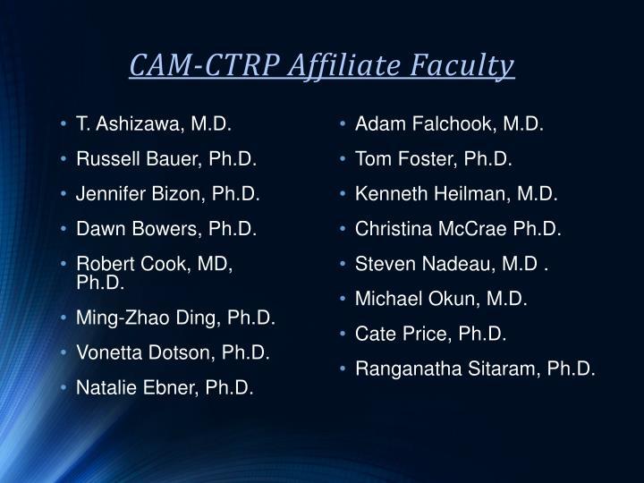 CAM-CTRP Affiliate Faculty