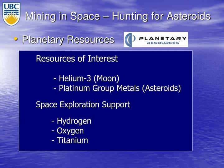 Mining in Space – Hunting for Asteroids