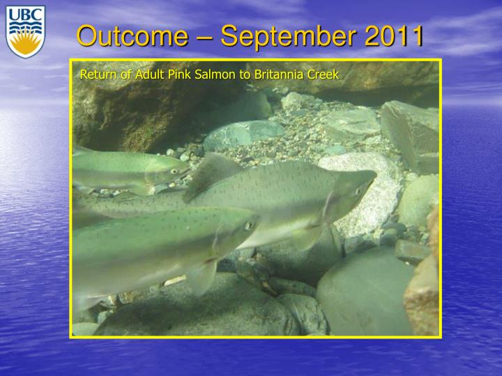 Outcome – September 2011