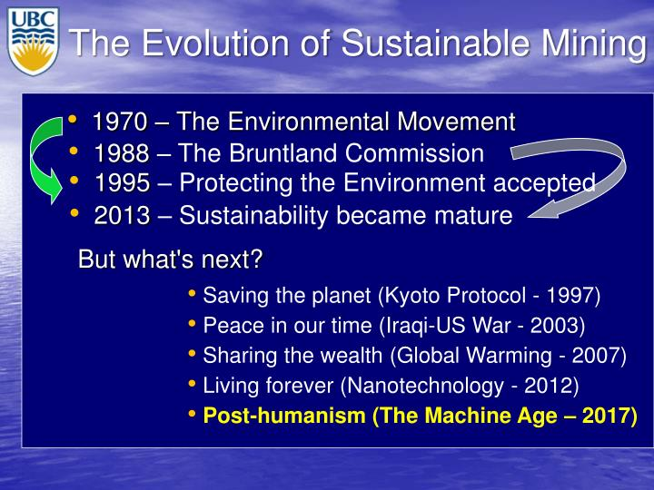 The Evolution of Sustainable Mining