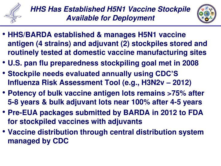 HHS Has Established H5N1 Vaccine Stockpile Available for Deployment