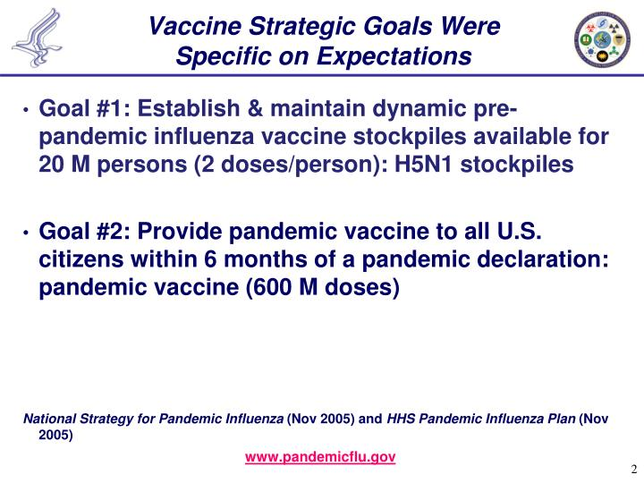 Vaccine strategic goals were specific on expectations
