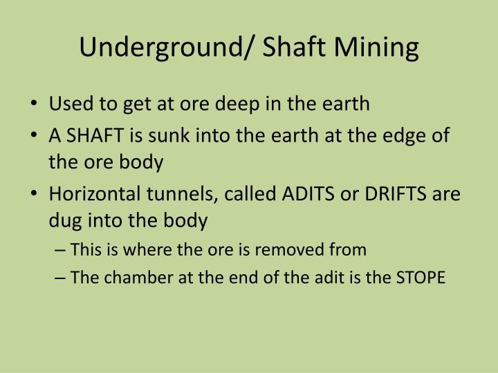 Underground/ Shaft Mining