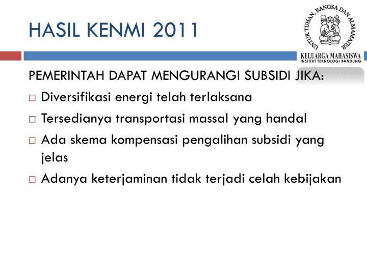 HASIL KENMI 2011