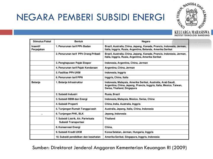 NEGARA PEMBERI SUBSIDI ENERGI