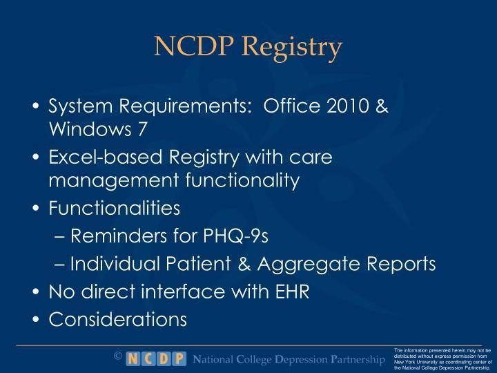 NCDP Registry