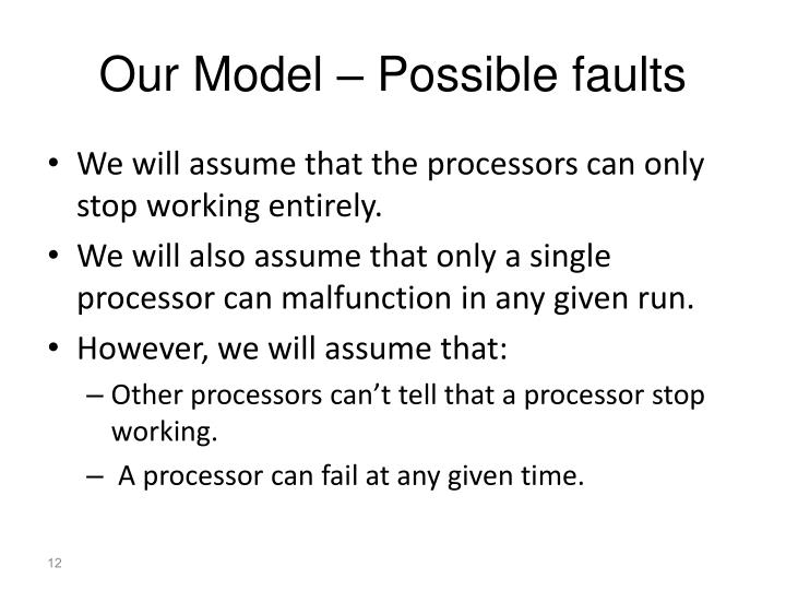 Our Model – Possible faults