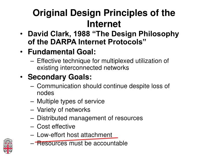 Original Design Principles of the Internet