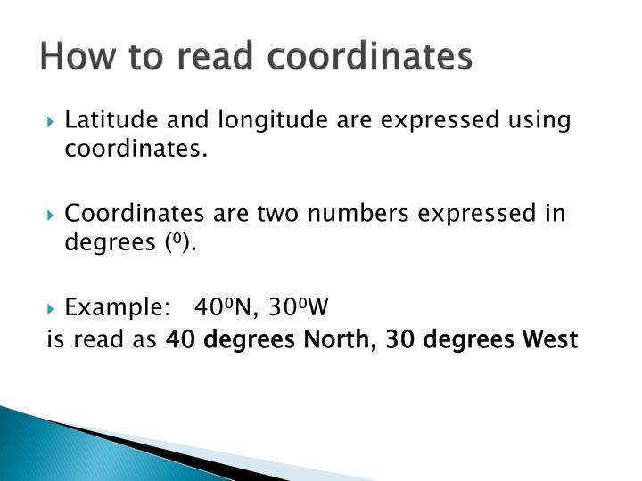 How to read coordinates
