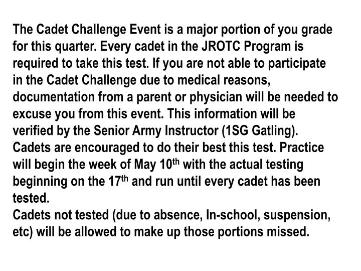 CHALLENGE PERSONS ENTERING YOUR AREA California Cadet Corps Powerpoint Presentation