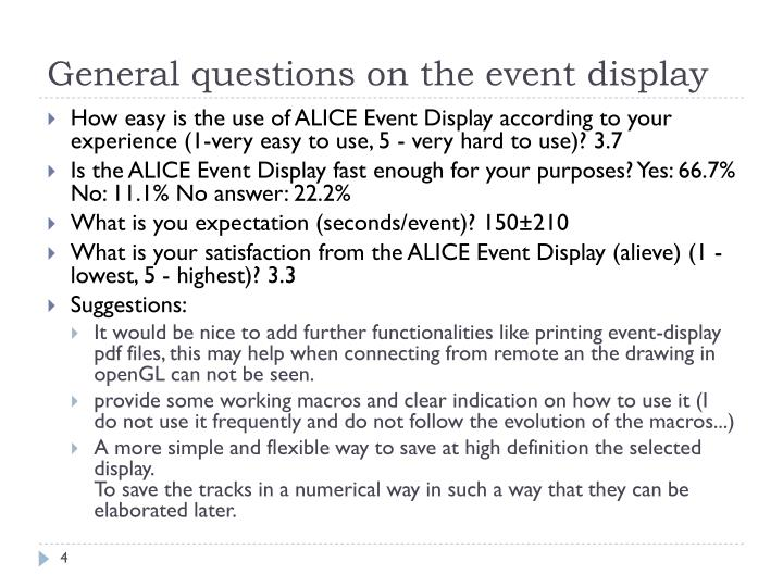 General questions on the event display