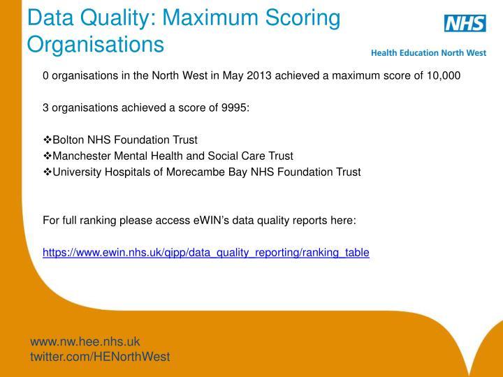 Data Quality: Maximum Scoring Organisations