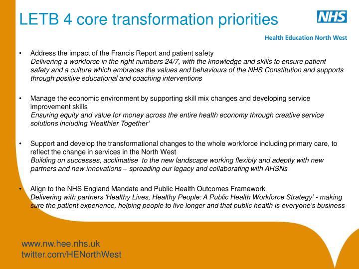 LETB 4 core transformation priorities