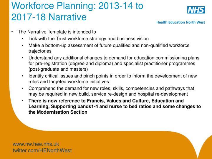 Workforce Planning: 2013-14 to 2017-18 Narrativ