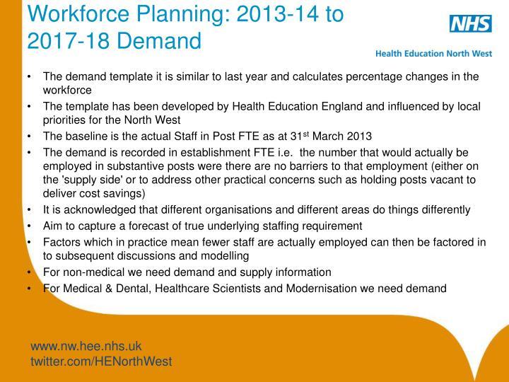 Workforce Planning: 2013-14 to 2017-18 Demand