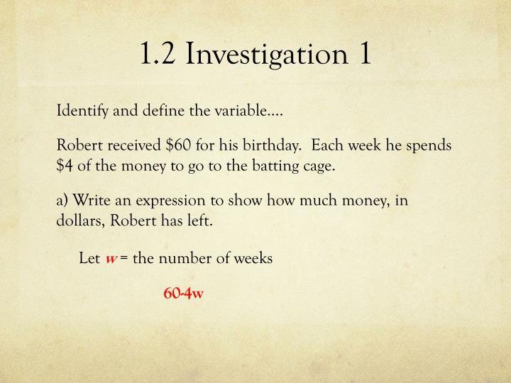 1.2 Investigation 1