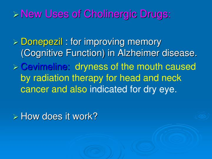 New Uses of Cholinergic Drugs