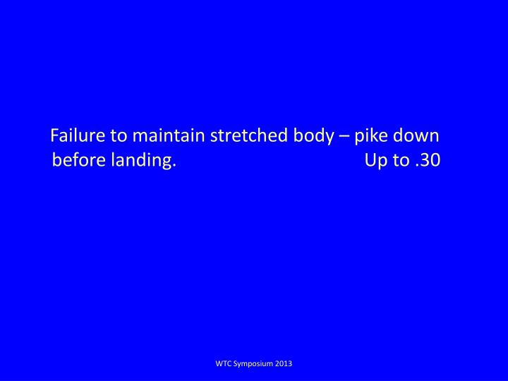 Failure to maintain stretched body –