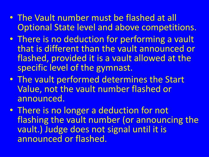 The Vault number must be flashed at all Optional State level and above competitions.