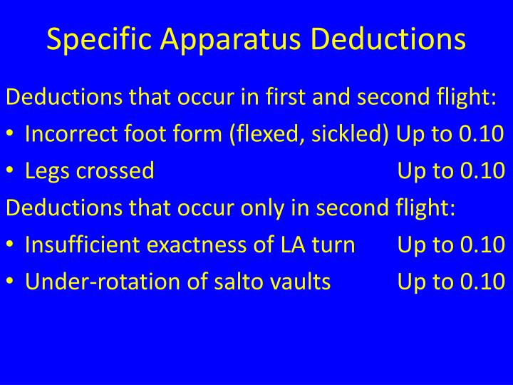 Specific Apparatus Deductions