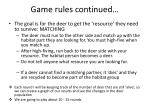 game rules continued