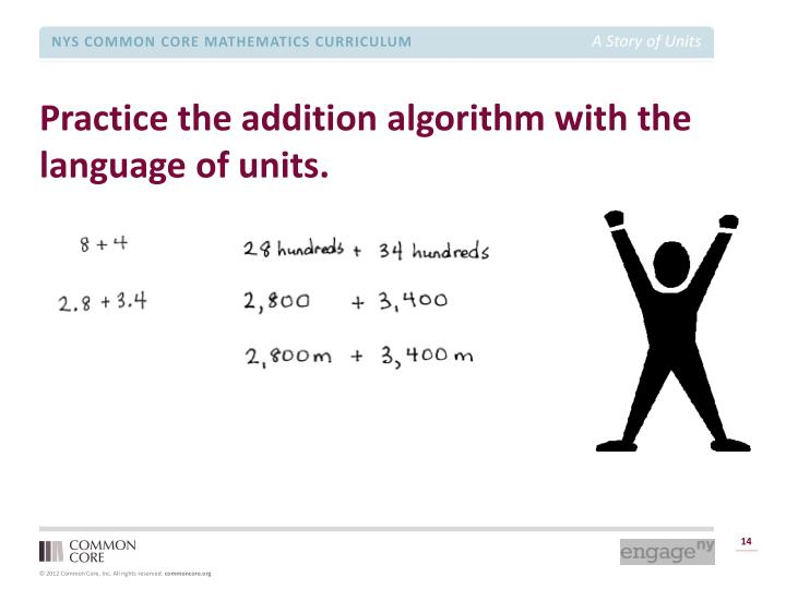 Practice the addition algorithm with the language of units.