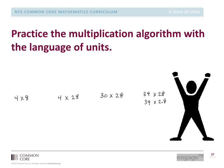 Practice the multiplication algorithm with the language of units.