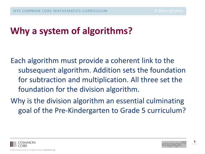 Why a system of algorithms?