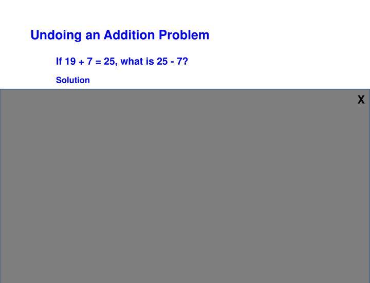Undoing an Addition Problem
