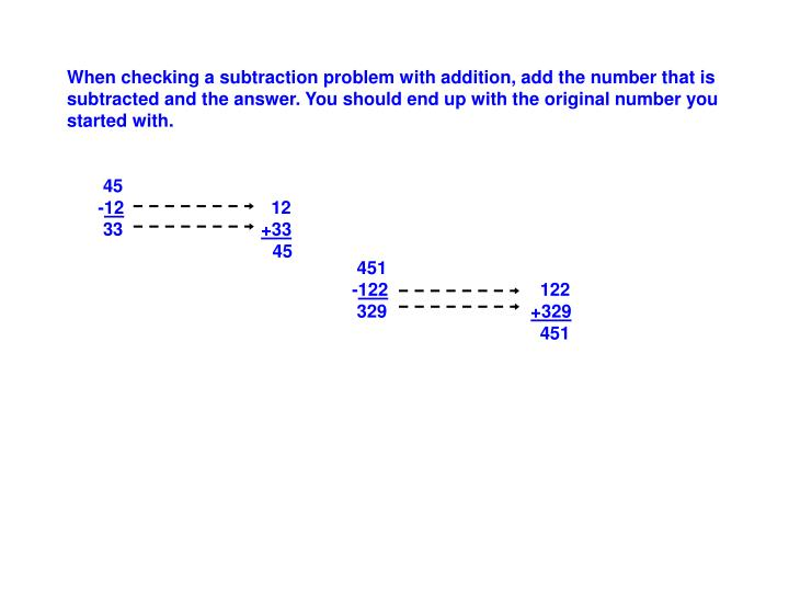 When checking a subtraction problem with addition, add the number that is subtracted and the answer. You should end up with the original number you started with.