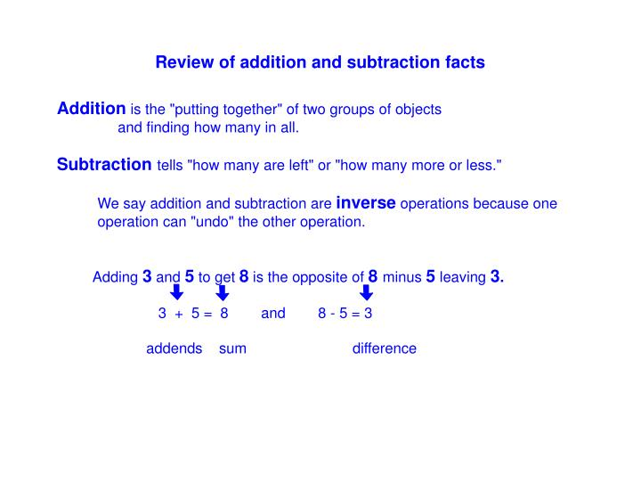 Review of addition and subtraction facts