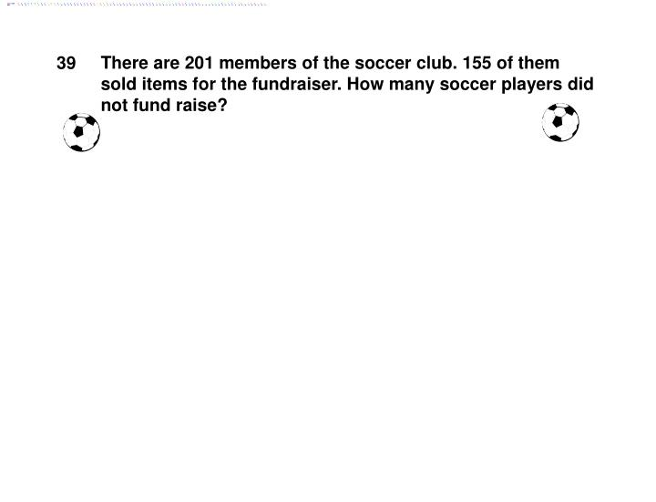 There are 201 members of the soccer club. 155 of them sold items for the fundraiser. How many soccer players did not fund raise?