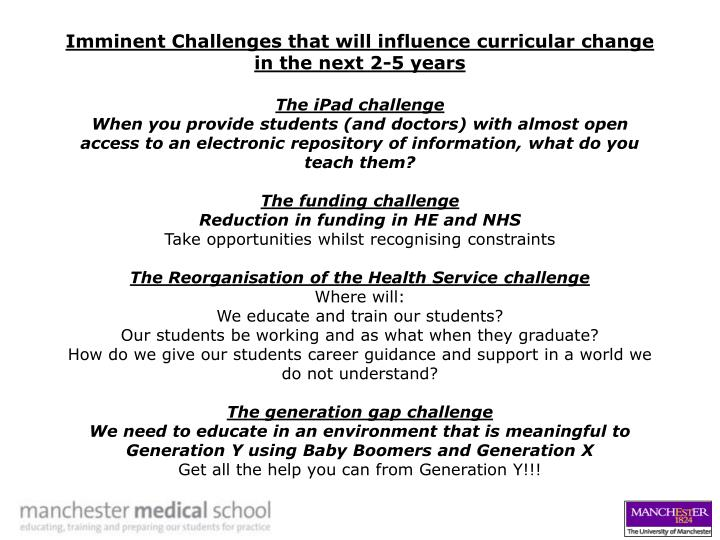 Imminent Challenges that will influence curricular change in the next 2-5 years