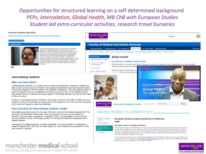 Opportunities for structured learning on a self determined background