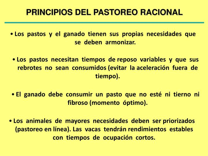 PRINCIPIOS DEL PASTOREO RACIONAL