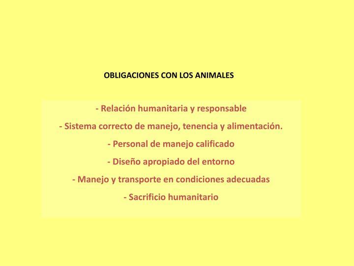 OBLIGACIONES CON LOS ANIMALES