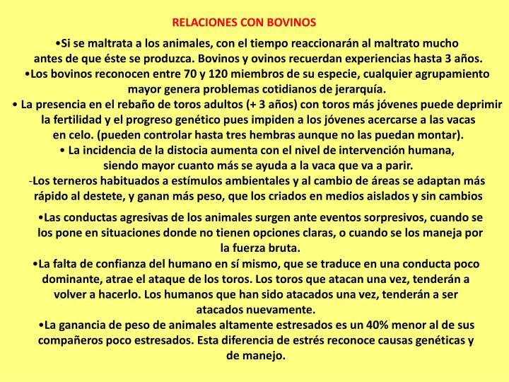 RELACIONES CON BOVINOS