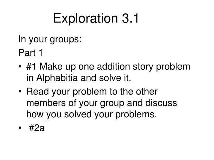 Exploration 3.1
