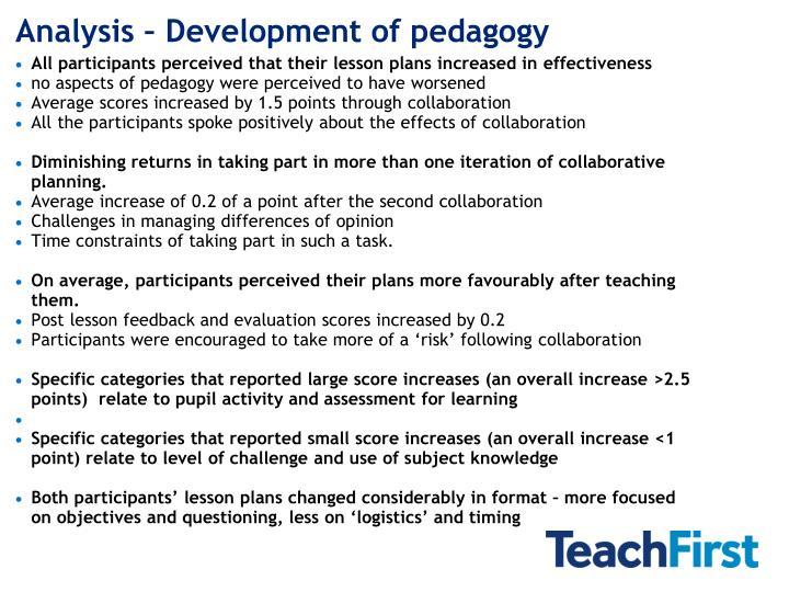 Analysis – Development of pedagogy