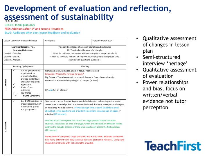 Development of evaluation and reflection, assessment of sustainability