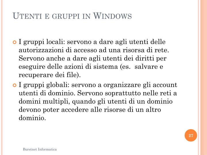 Utenti e gruppi in Windows